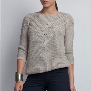 Grey Knit Detail Three-Quarter Sleeve Sweater